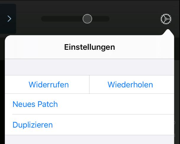 """Abbildung. Menü """"Einstellungen"""" mit den Touch-Bereichen """"Neues Patch"""" und """"Duplizieren""""."""