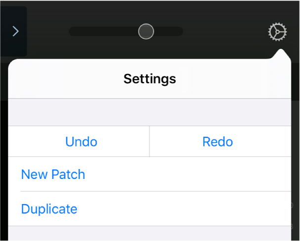 Figure. Settings menu showing New Patch and Duplicate touch areas.