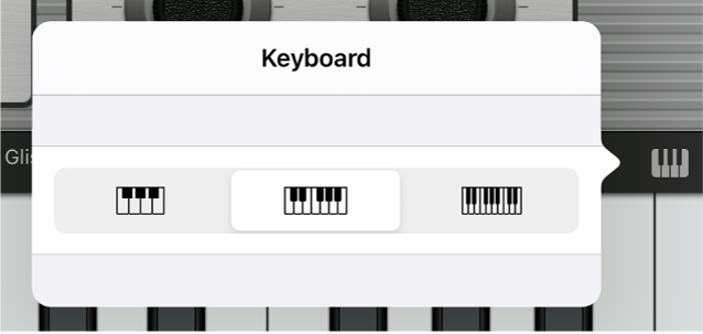 Figure. Keyboard Size pop-up menu.