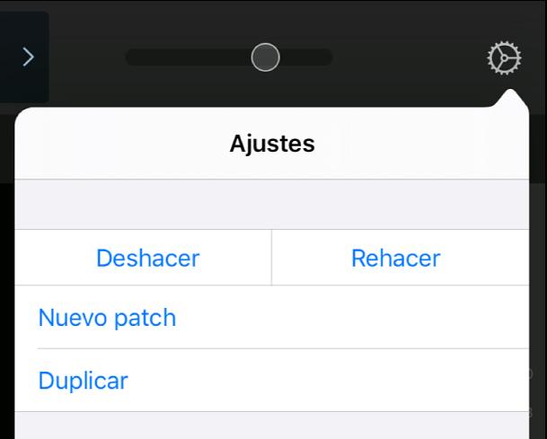 """Ilustración. Menú de ajustes, con las áreas táctiles """"Nuevo patch"""" y Duplicar."""