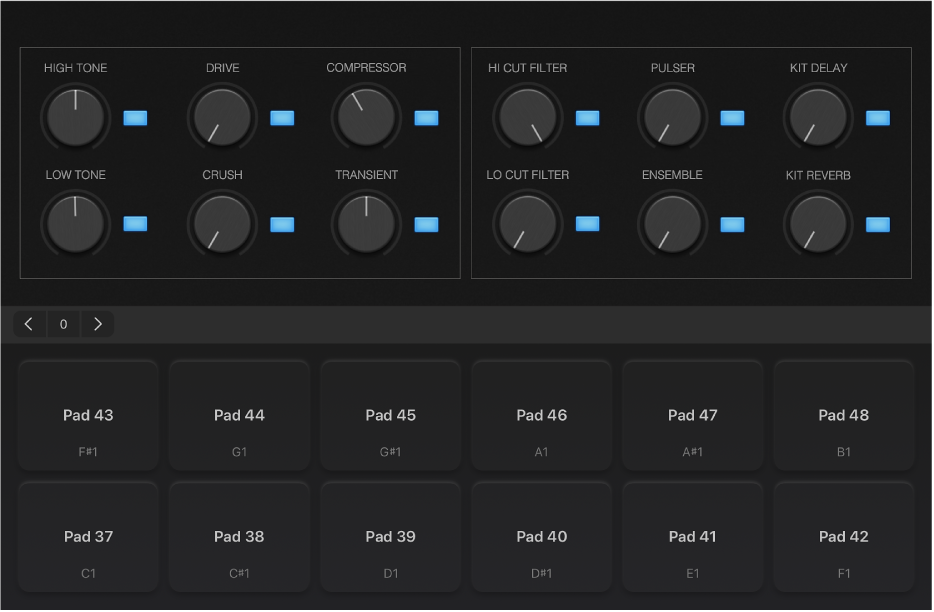 Afbeelding. Drumpads in half scherm.