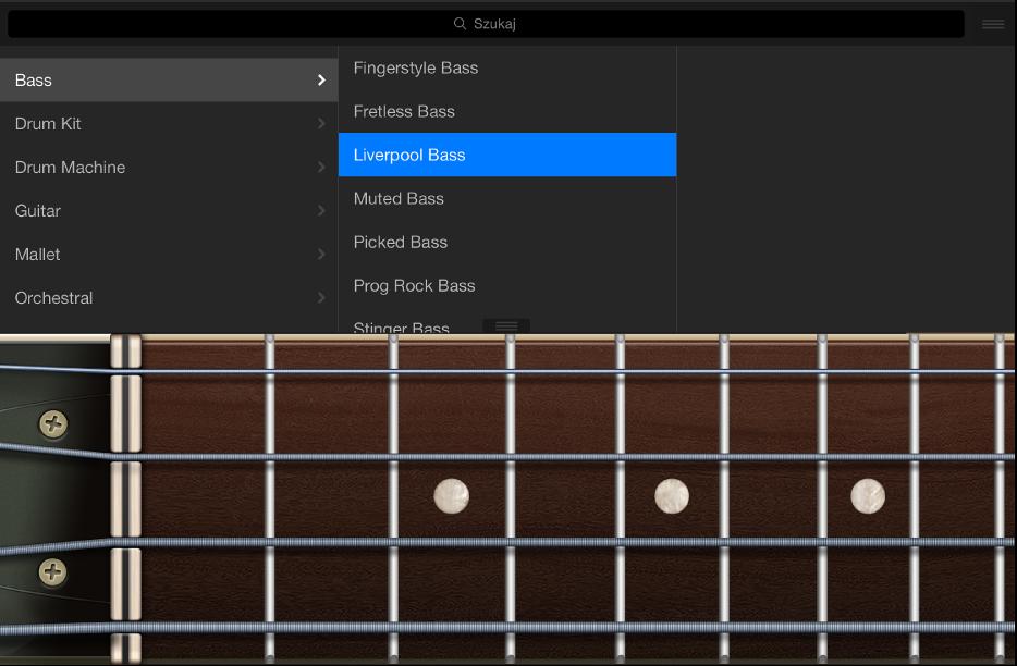 Ilustracja. Instrument dotykowy gitara basowa zbiblioteką.