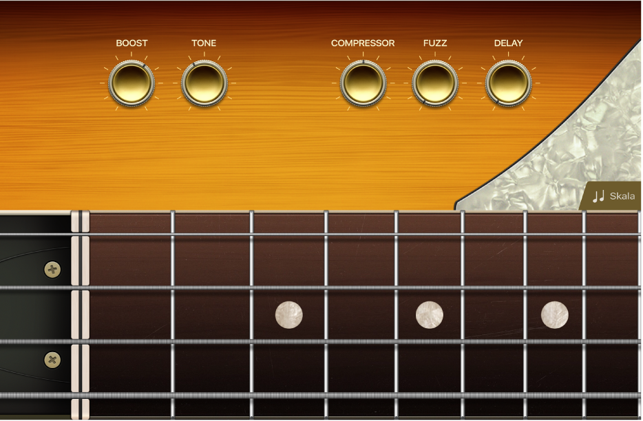 Ilustracja. Instrument dotykowy gitara basowa.