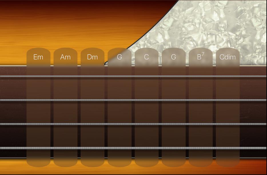 Ilustracja. Paski akordów gitary basowej.