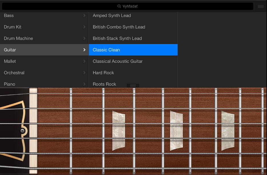 Obrázok. Dotykový nástroj Gitara s knižnicou.