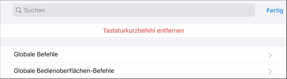 """Abbildung. Bereich """"Tastaturkurzbefehle""""."""