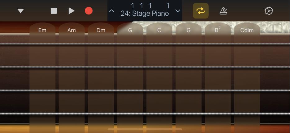 """Abbildung. Darstellung """"Akkord-Strips"""" für Bass."""
