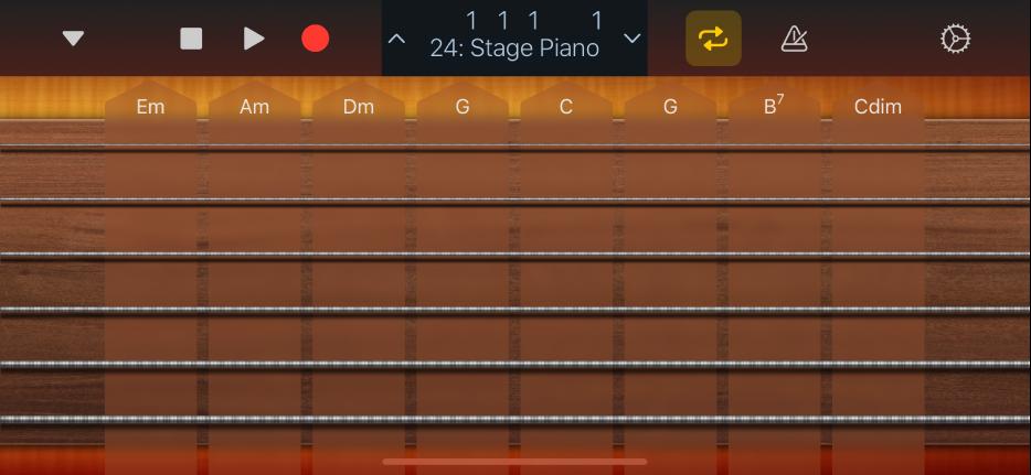 """Abbildung. Darstellung """"Akkord-Strips"""" für Gitarre."""