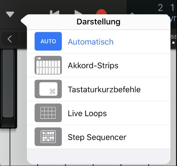 "Abbildung. Einblendmenü ""Darstellung""."