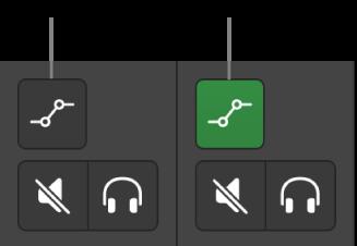 Afbeelding. Knoppen voor de automatiseringsmodus met de twee mogelijke statussen.