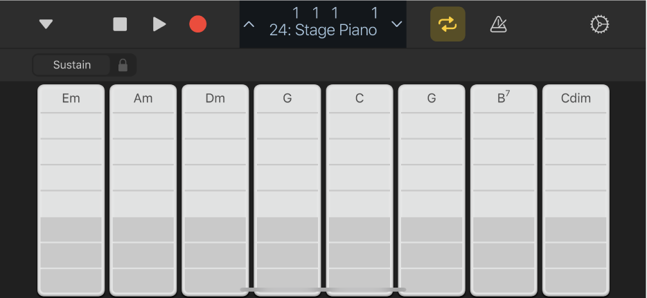 Figur. Akkordstriper i Keyboard.