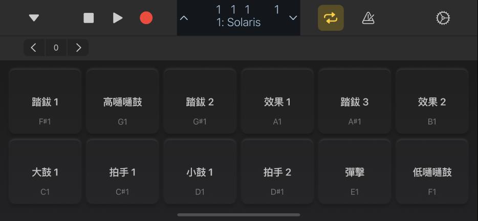圖表。全螢幕鼓組板。