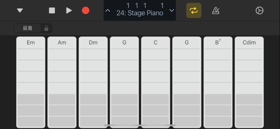 圖表。鍵盤和弦條板。