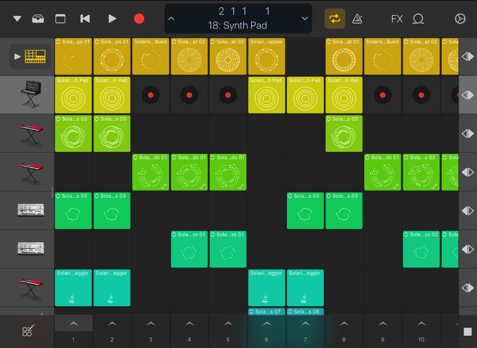 Abbildung. Live Loops-Raster auf dem iPad.