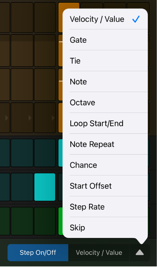 Edit Mode selector with menu open, showing edit modes.