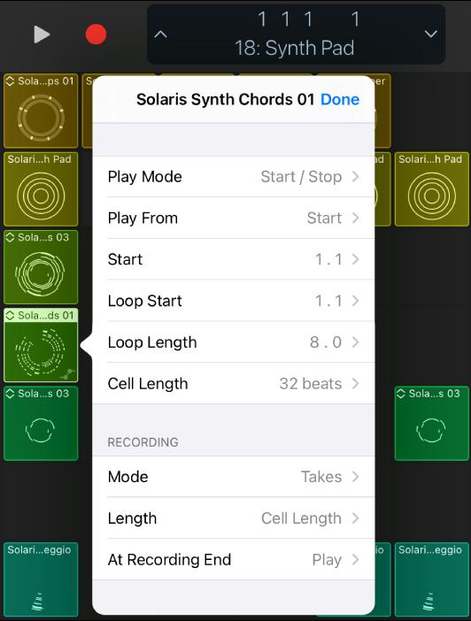 Cell Settings menu.