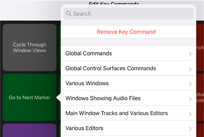 Figure. Key Commands pop-up menu.