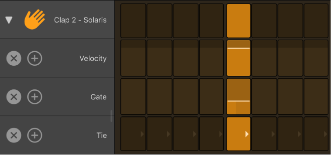 Step Sequencer with row open, showing subrows.