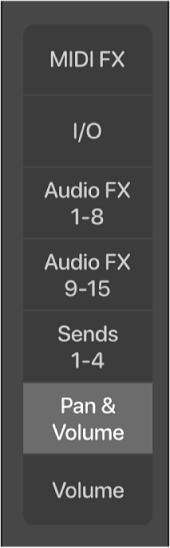Figure. Buttons to change the Mixer view.