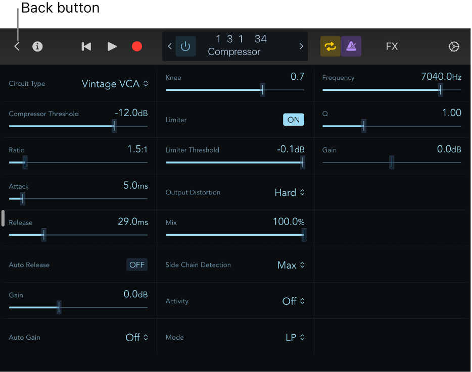 Figure. Showing the Compressor plug-in controls.