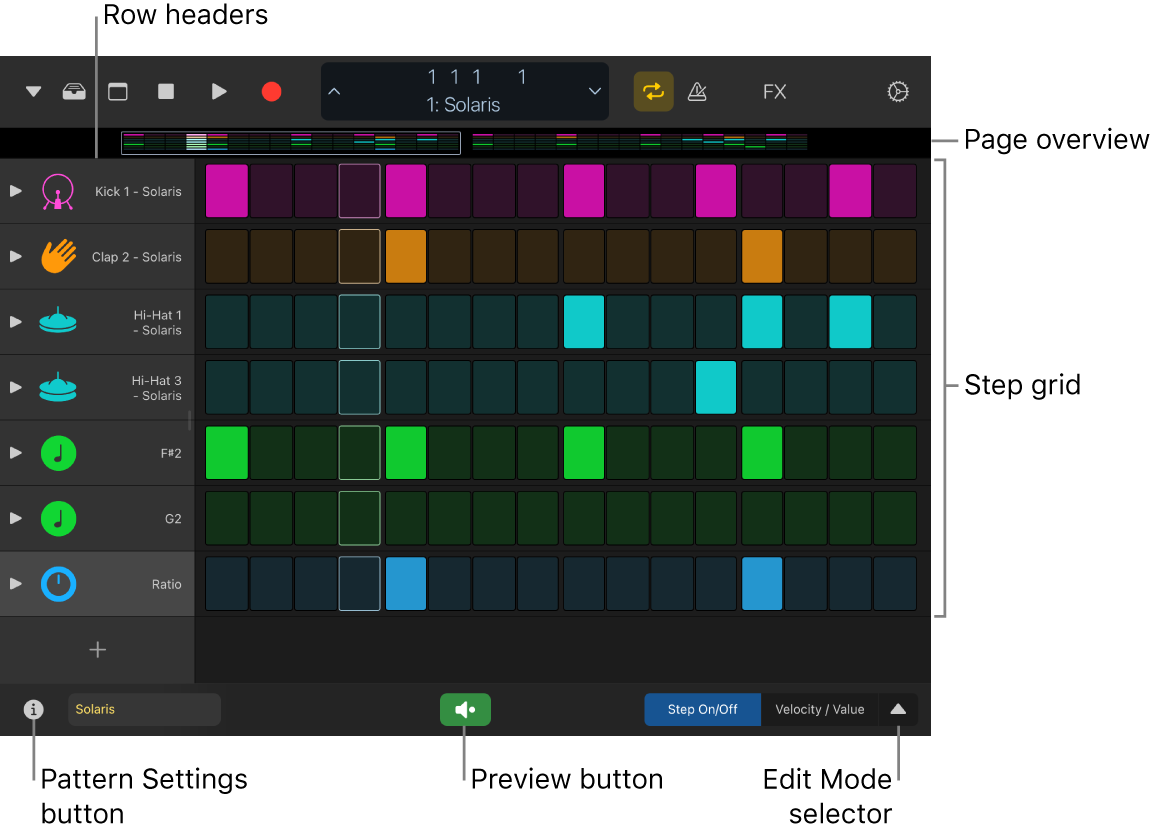 Step Sequencer showing the step grid, row headers and other controls.
