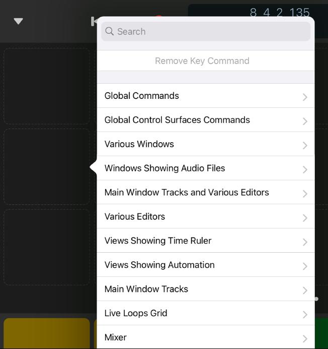 Figure. Key Commands pop-up menu.