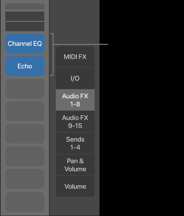 Figure. Callout showing Audio Effect slots.