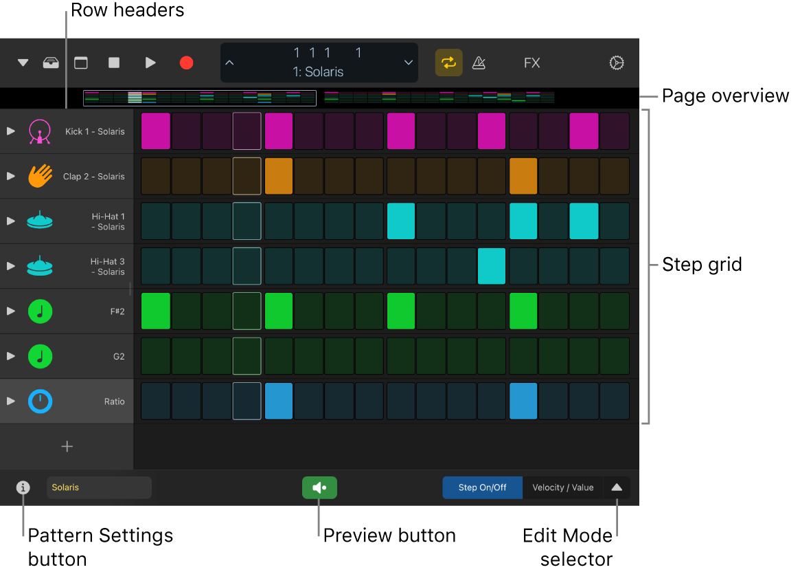 Step Sequencer showing the step grid, row headers, and other controls.