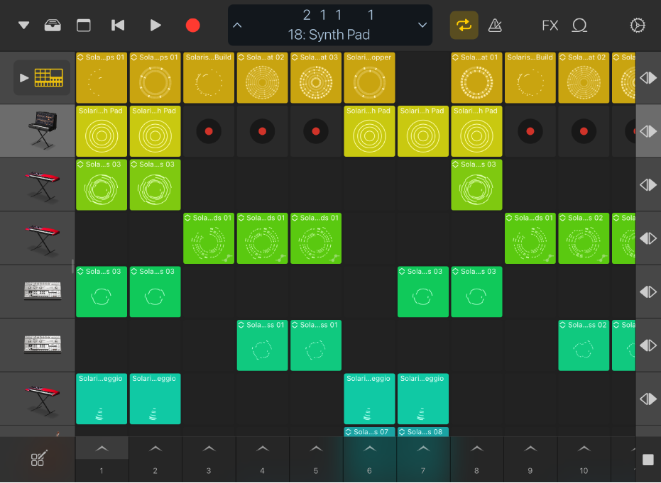 Figure. Live Loops grid for iPad