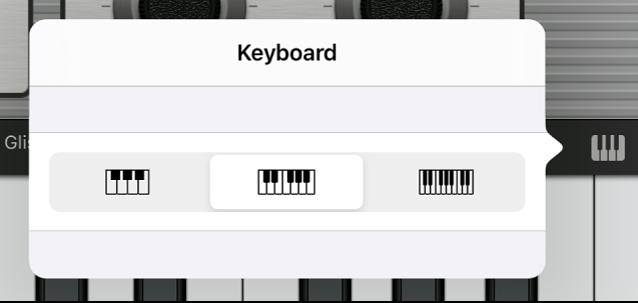 Figure. Keyboard Size pop-up menu.
