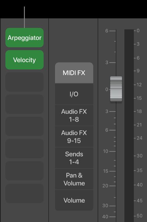 Figure. Callout showing a MIDI Effect slot.