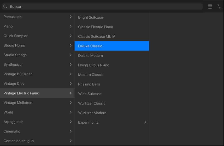 Ilustración. La biblioteca con la categoría de patch y el patch seleccionados.