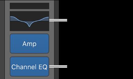 Figure. Illustration présentant un affichage EQ et un slot de canal EQ.