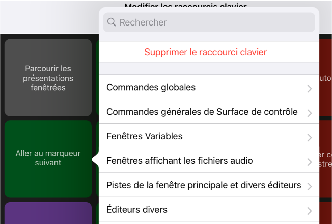 Figure. Menu local Raccourcis clavier.
