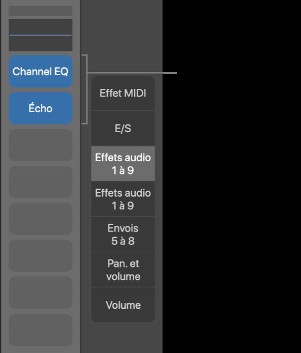 Figure. Illustration affichant les slots d'effets audio.