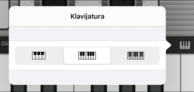 Slika. Skočni izbornik Veličina klavijature.