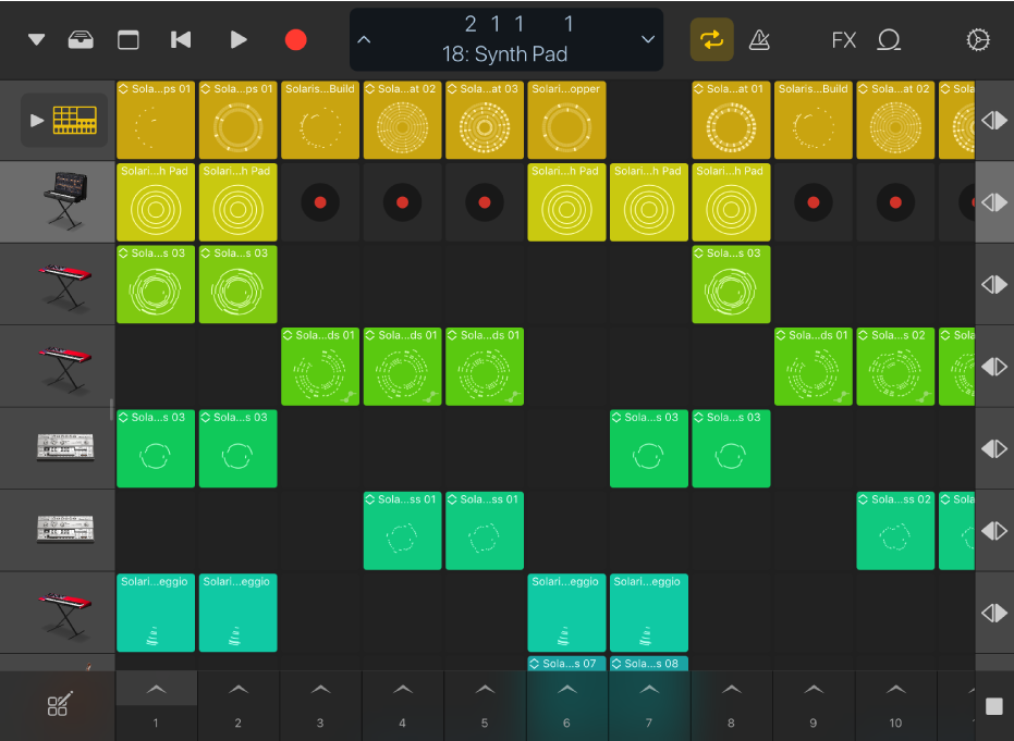 Figura. Griglia di Live Loops per iPad