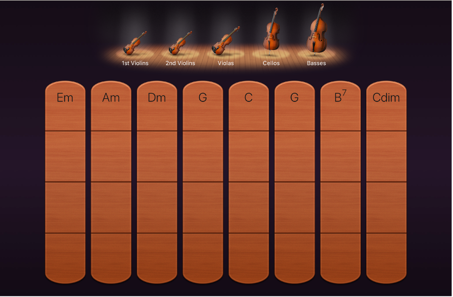 図。弦楽器のコードストリップ。
