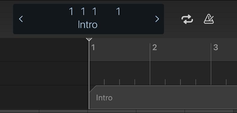 Afbeelding. Liniaal, afspeelkop en markering onder het regelbalkdisplay.