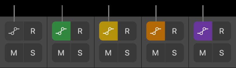 """Figura. Botões """"Modo de automatização"""" com os cinco estados de modo de automatização possíveis."""