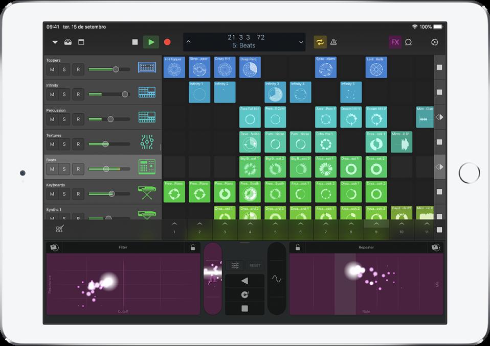 Logic Remote a mostrar a reprodução de um projeto.