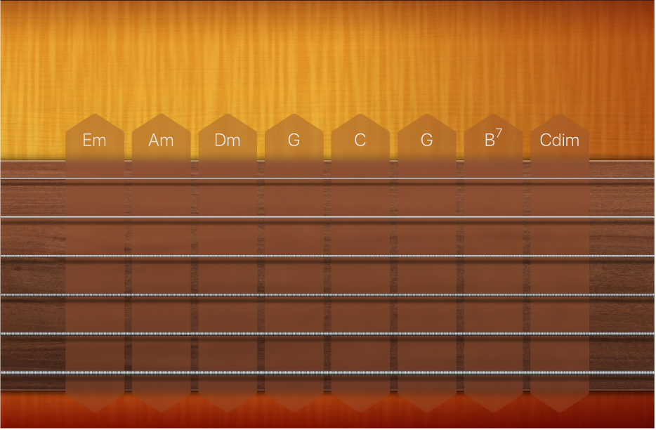 Figură. Benzile de acorduri ale chitarei.