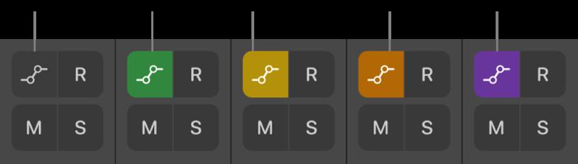 Рисунок. Різні варіанти кнопки «Режим автоматизації», які демонструють всі п'ять станів режиму автоматизації.