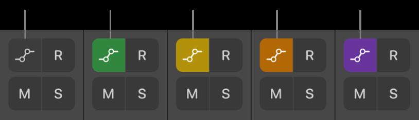 圖表。「自動混音模式」按鈕顯示所有五種自動混音模式狀態。