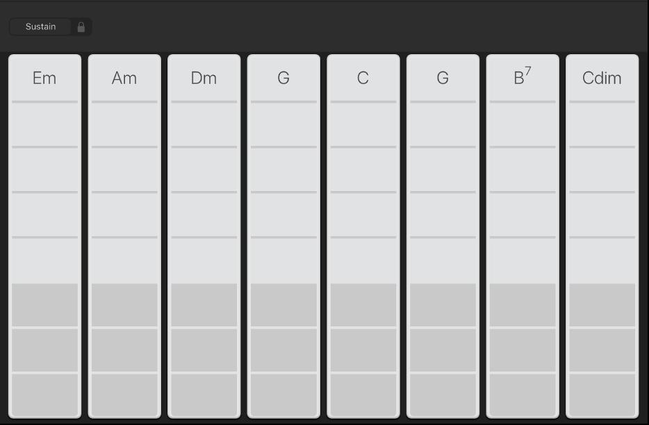 """Abbildung. Darstellung """"Akkord-Strips"""" für Keyboard."""