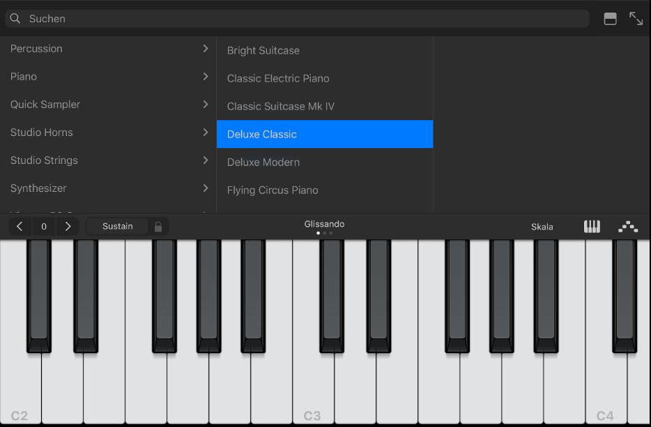 """Abbildung. Touch-Instrument """"Keyboard"""" mit Mediathek."""