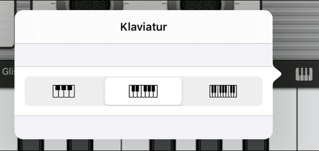 Abbildung. Einblendmenü für die Größe des Keyboards.