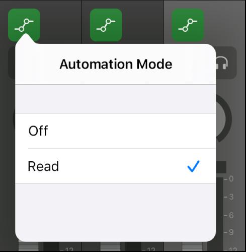 Figure. Automation Mode pop-up menu.