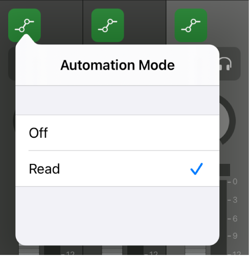 Figure. Automation Mode pop-up menu.