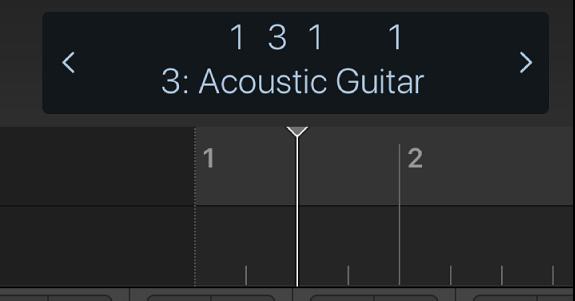 Ilustración. Regla y cursor de reproducción debajo de la pantalla de la barra de controles.